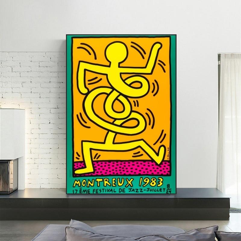 Популярное уличное искусство от Keith Haring, постеры и принты, абстрактные граффити, живопись на холсте, настенное искусство, картина, домашнее у...