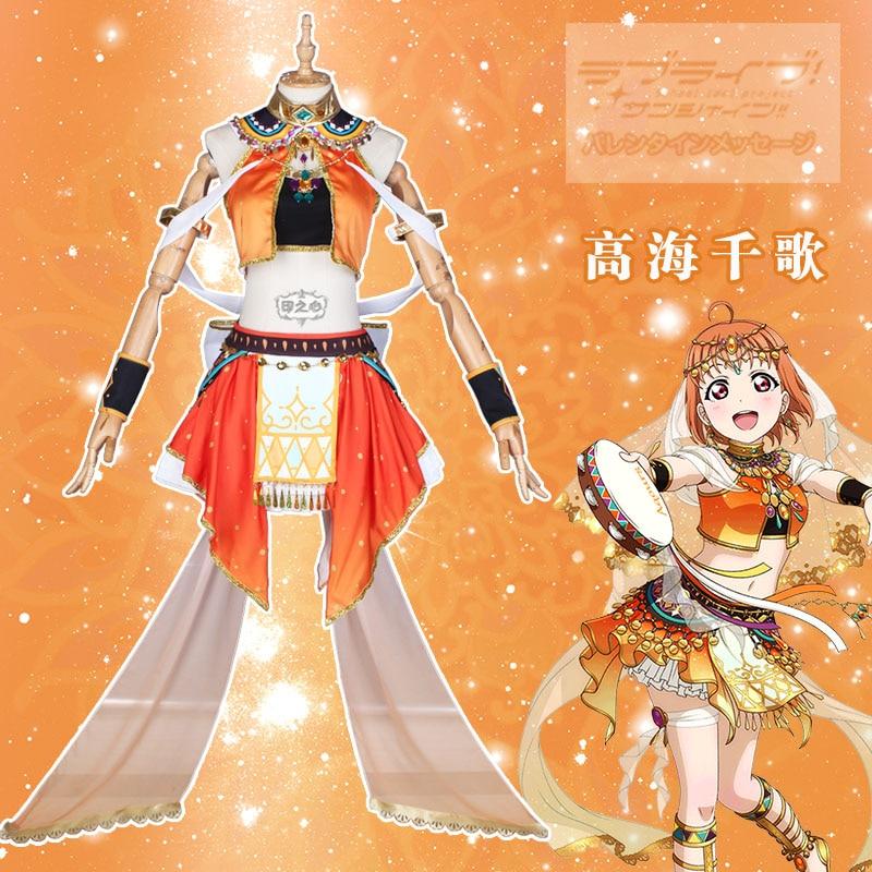 Amor. Sunshine Aqours Dancer Awakening Chika Takami vestido Sexy Cosplay disfraz carnaval Coa uniformes de fiesta