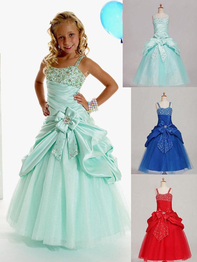 فستان زهري مع أحزمة للبنات ، أخضر ، أزرق ، أحمر ، وردي ، فساتين عرض للبنات ، تنورة عيد ميلاد مخصصة SZ 2 4 6 8 10 12