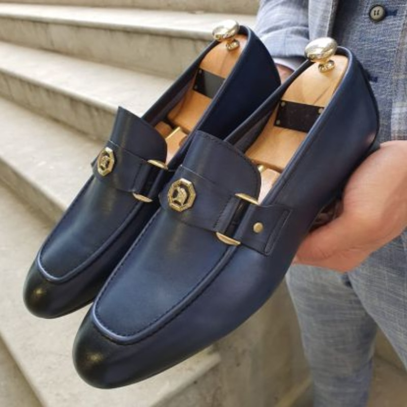 Men Dress Shoes Casual Business Fashion Pu Leather Low Heel British Style Classic Slip-on Penny Loaf