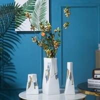 modern geometric white matte glaze ceramic vase porcelain flower arrangement