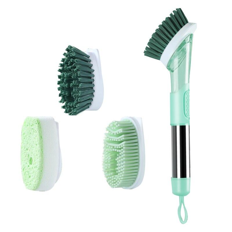 Кухонная силиконовая чистящая щетка 3 в 1, длинная ручка, чистящая щетка со съемной щеткой, Диспенсер губки, щетка для мытья посуды