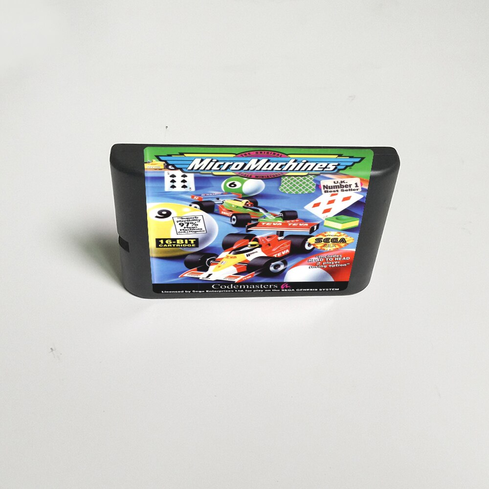 Micromáquinas-tarjeta de juego MD de 16 bits para Cartucho de consola Sega...
