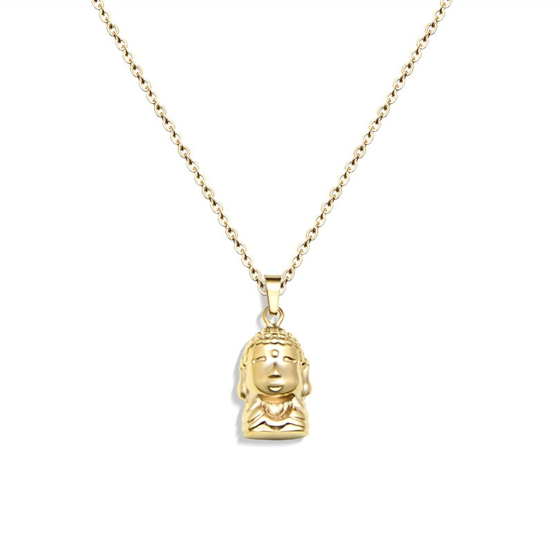 Collar de pareja de Buda de estilo coreano, joyería de acero inoxidable para mujer, de Color dorado de clavícula collar de cadena, regalo de joyería
