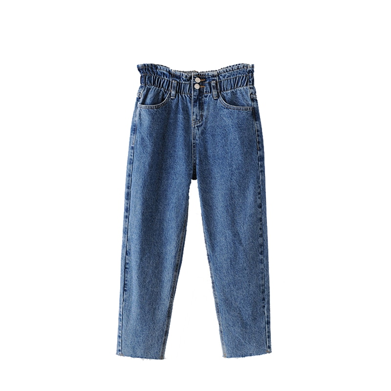 Женские джинсовые штаны женские Повседневное свободные джинсовые брюки с эластичной резинкой на талии, с НИЗ