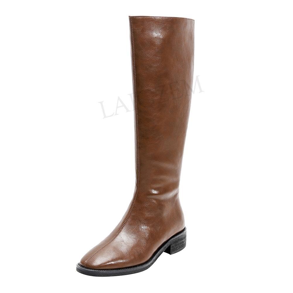 LAIGZEM Quality Women Knee High Boots Genuine LEATHER Low Heels Winter Boots Side Zip Shoes Bottine Botas Beige Size 33 38 39 40