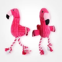 cleaning teeth squeaky interactive cartoon animal flamingo shaped cotton rope dog toy pet training products pet chew toys 1 pcs