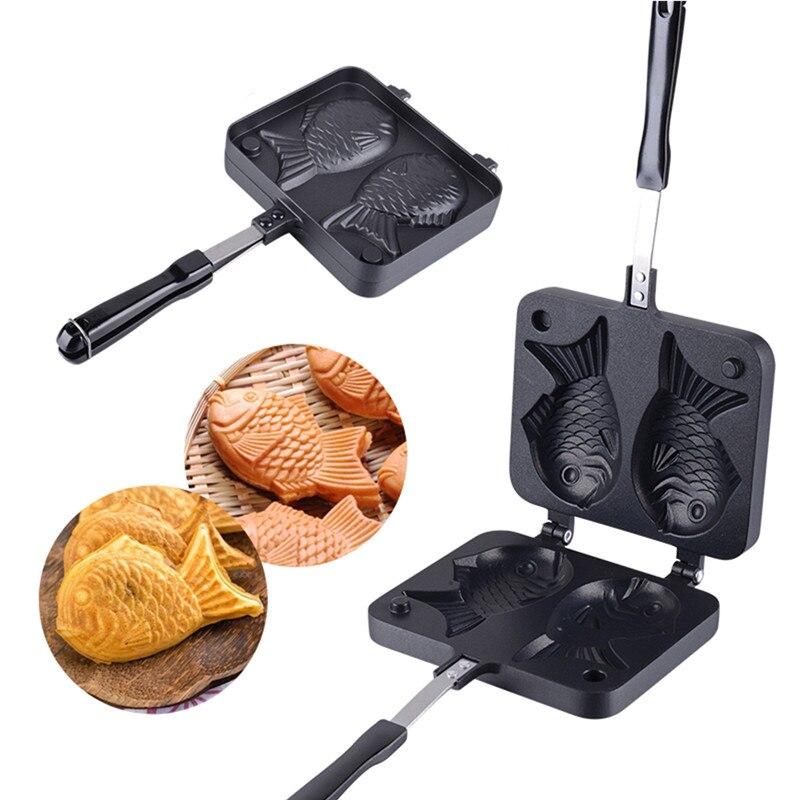Taiyaki اليابانية على شكل الأسماك خبز وافل عموم صانع اليابانية فطيرة مزدوجة عموم الفولاذ المقاوم للصدأ Frypan أدوات كعكة المنزل