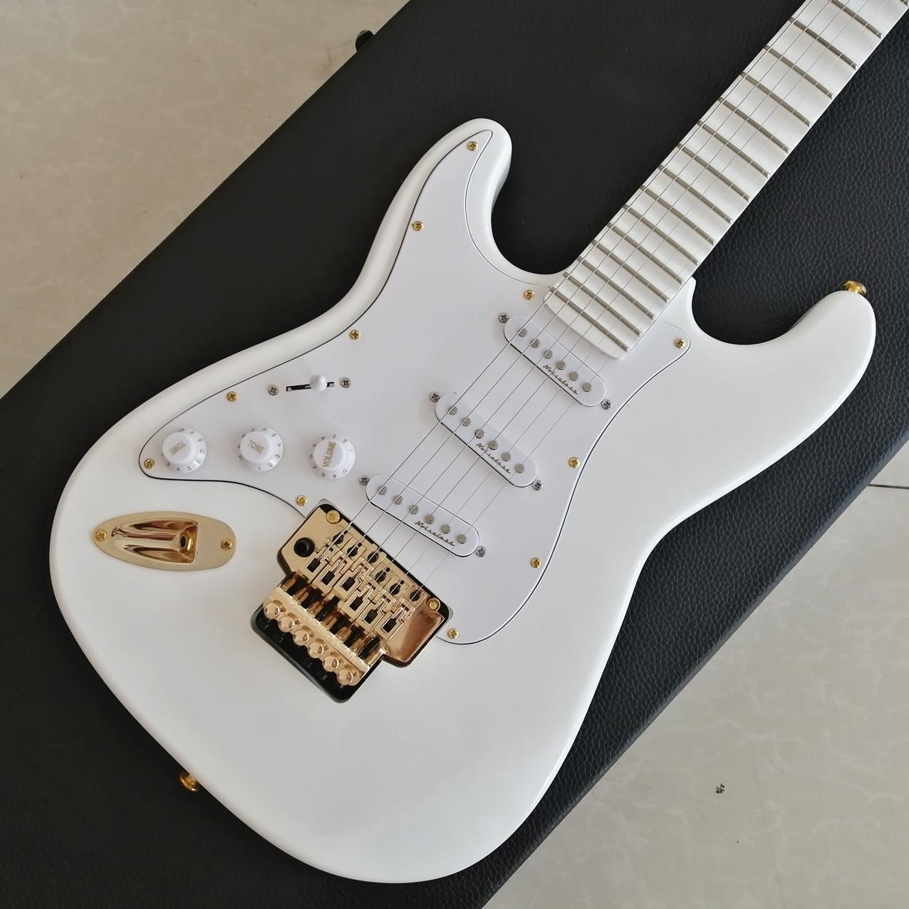 Guitarra Eléctrica ST, modelo de la fábrica al por mayor, 2020, cuello festoneado profundo, hardware dorado, guitarra blanca, envío gratis