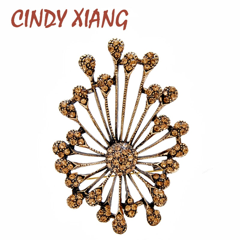 Cindy xiang 2 cores escolher strass broches de flores para as mulheres novo design outono inverno casaco pino alta qualidade elegante pinos presente