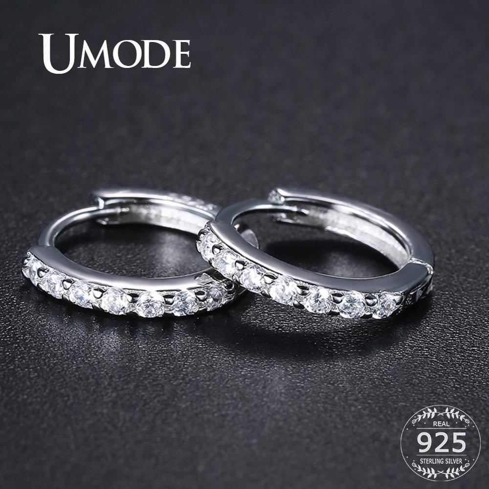 Женские круглые серьги UMODE Huggie, серьги из стерлингового серебра 925 пробы с кубическим цирконием, ювелирные украшения ULE0385