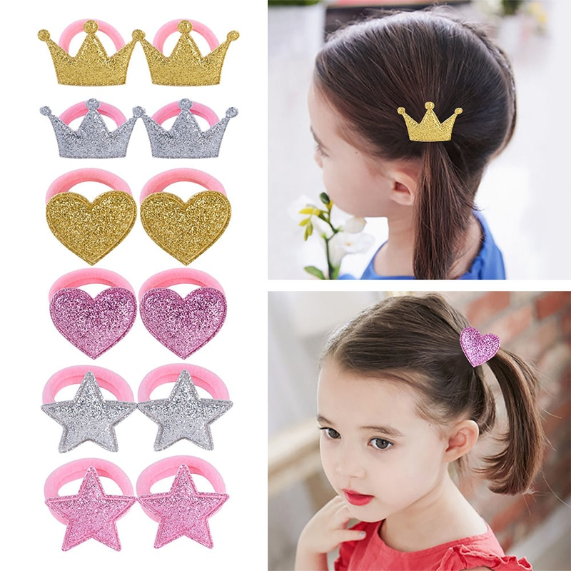 1Pair Princess Crown Silver Hair Rope Adjustable Baby Headdress Star Heart Elastic Golden Pink Hair Bands Children Hair Ropes