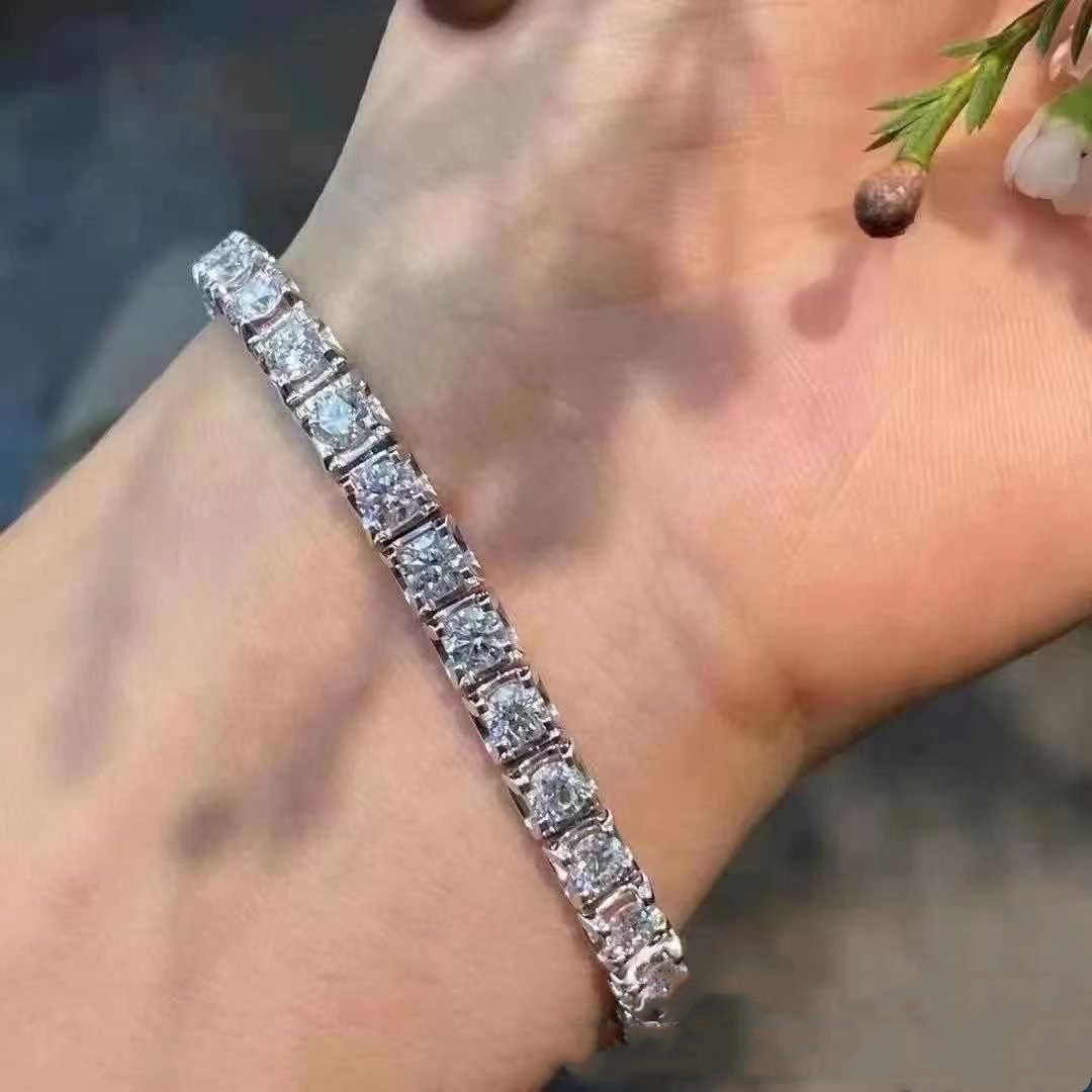 Moissanite Bracelet Total 10ct S925 Sterling Silver Bangle White Gold Plated Luxurious Women Fine Jewelry