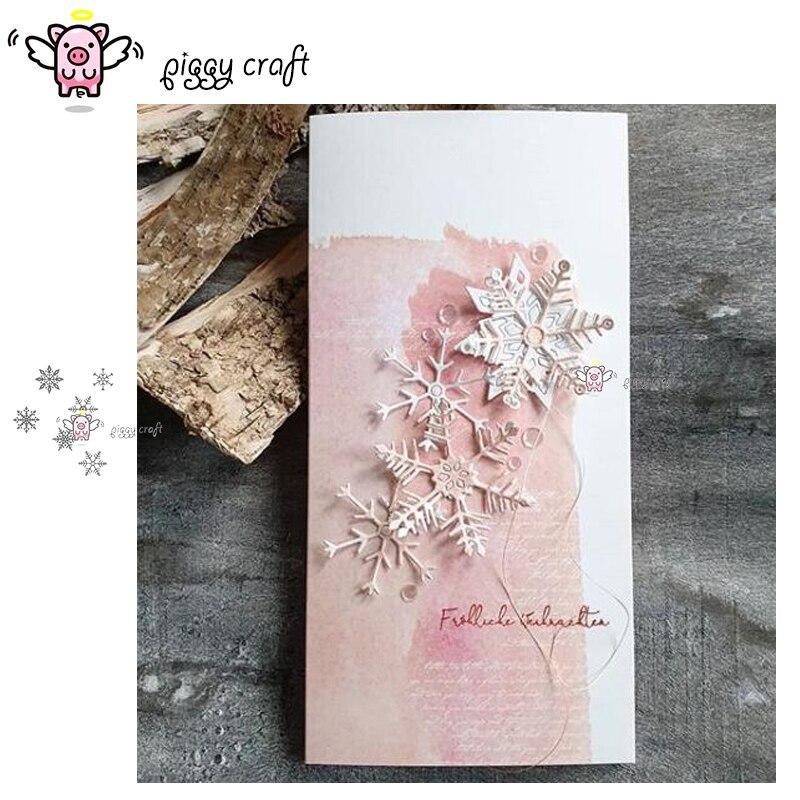 Piggy Craft metal corte troqueles molde 6 uds copo de nieve decoración manualidades de papel de álbum de recortes cuchillo molde de cuchilla perforadora de plantillas morir