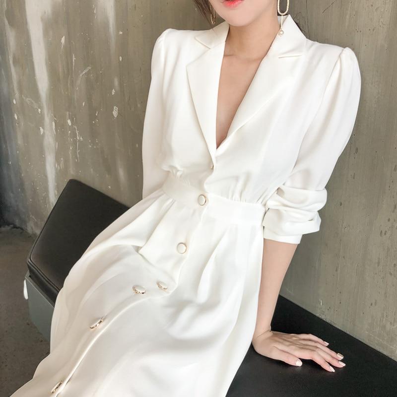 2020 Spring New Elegant Vintage Women Long Dress White Long Sleeve A-line Solid Dress Female Casual High Waist Party Vestidos