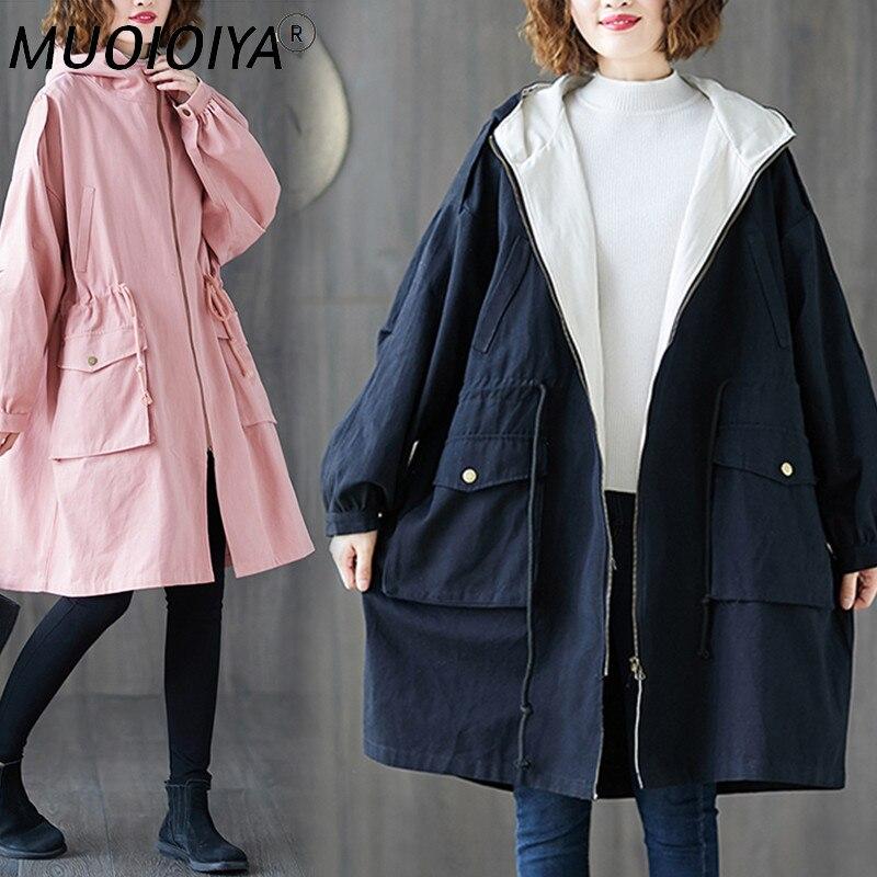 حجم كبير المرأة خندق معطف طويل 2021 ربيع الخريف جديد الكورية موضة فضفاض أسود كبير جيب سترة واقية الإناث ملابس خارجية 3XL