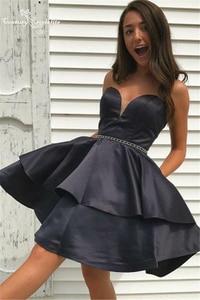 Black Short Homecoming Dresses with Pockets Sweetheart Beaded Tiered Knee Length Prom Dress Graduation Gowns Vestido De Fiesta