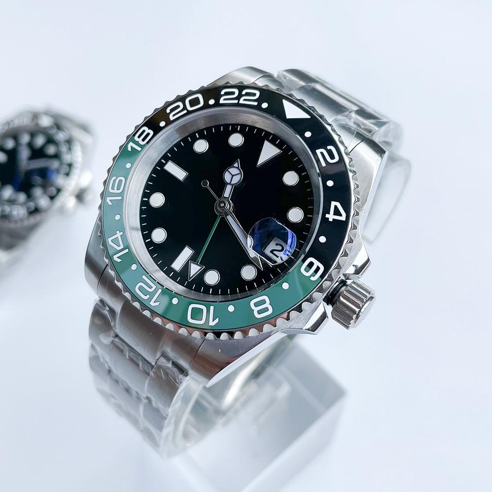 ساعة رجالي رائعة 40 مللي متر التلقائي GMT ساعة ميكانيكية الفولاذ المقاوم للصدأ حزام الياقوت الزجاج فحم الكوك إطار السيراميك الاتصال الهاتفي ال...