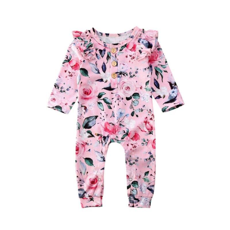 0-24M bebé niña mameluco otoño ropa de punto de impresión de flores mono de manga larga con volantes mono conjunto