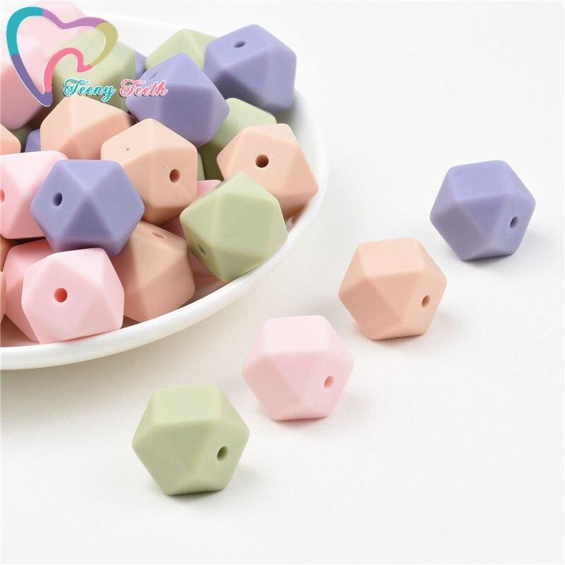 Teeny Teeth 10 PCS Sage Green/Lint 14-17 MM Hexagon Shape Silicone Beads Food Grade Silicone Teething Baby Chewable Loose Beads