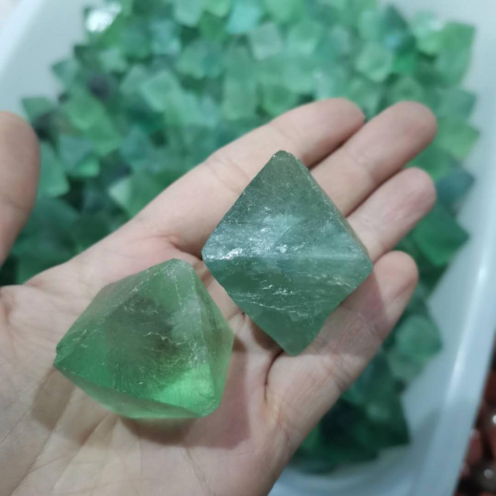 Natural Green fluorite octahedron gemstone crystal polytope