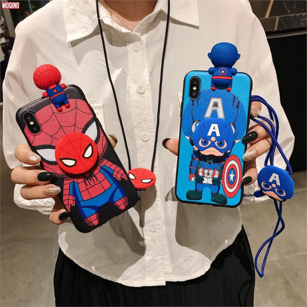 Batman Capitán América Iron Man Spider-Man funda suave TPU correa de teléfono funda de cuerda para iPhone 11 Pro Xs Max Xs XR 6 7 8Plus
