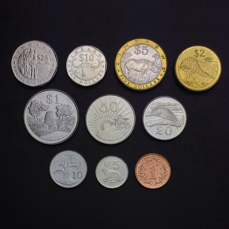 Zimbabwe conjunto de 10 peças moedas nova moeda original unc 100% real áfrica moedas de emissão