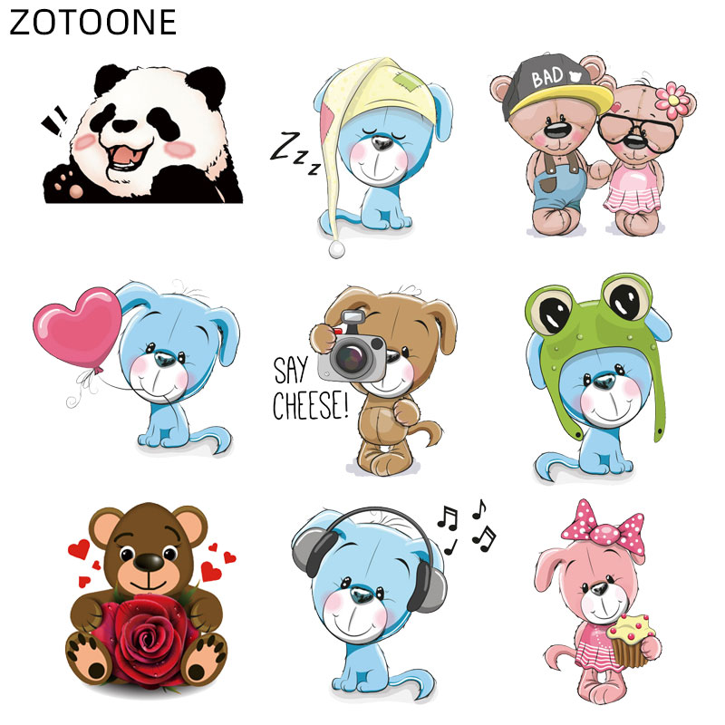 ZOTOONE Cute Animal Patch Bear Iron on Patches for Clothing Heart Sticker Kids Heat Transfers Applications DIY Appliques G