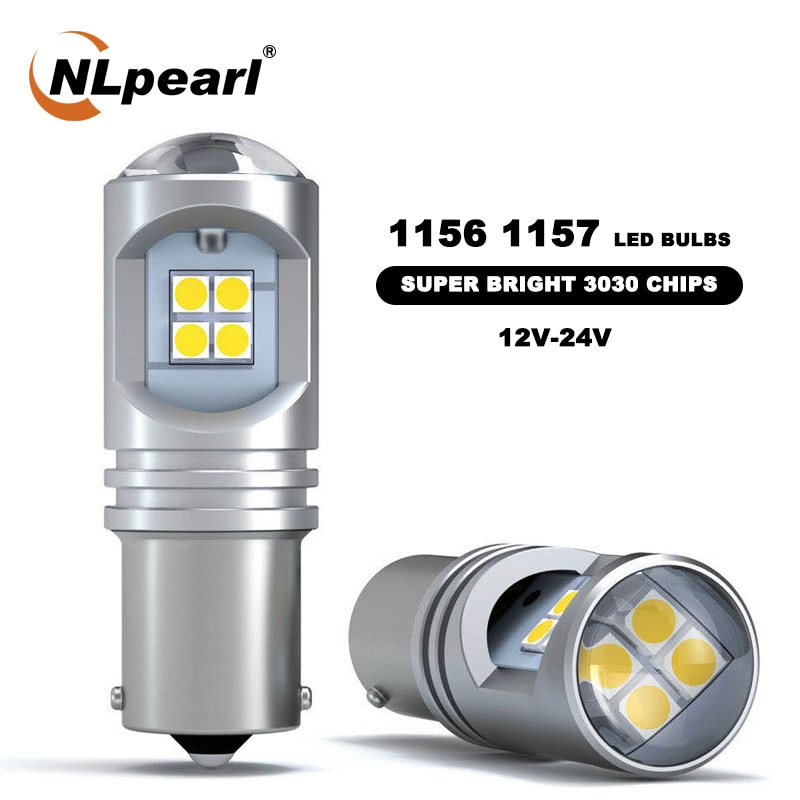 NLpearl 2X Signal Lamp P21W BA15S 1156 LED Bau15s Py21W Bulbs 3030SMD P21/5W 1157 bay15d Led Turn Signal Brake Lights 12V 24V