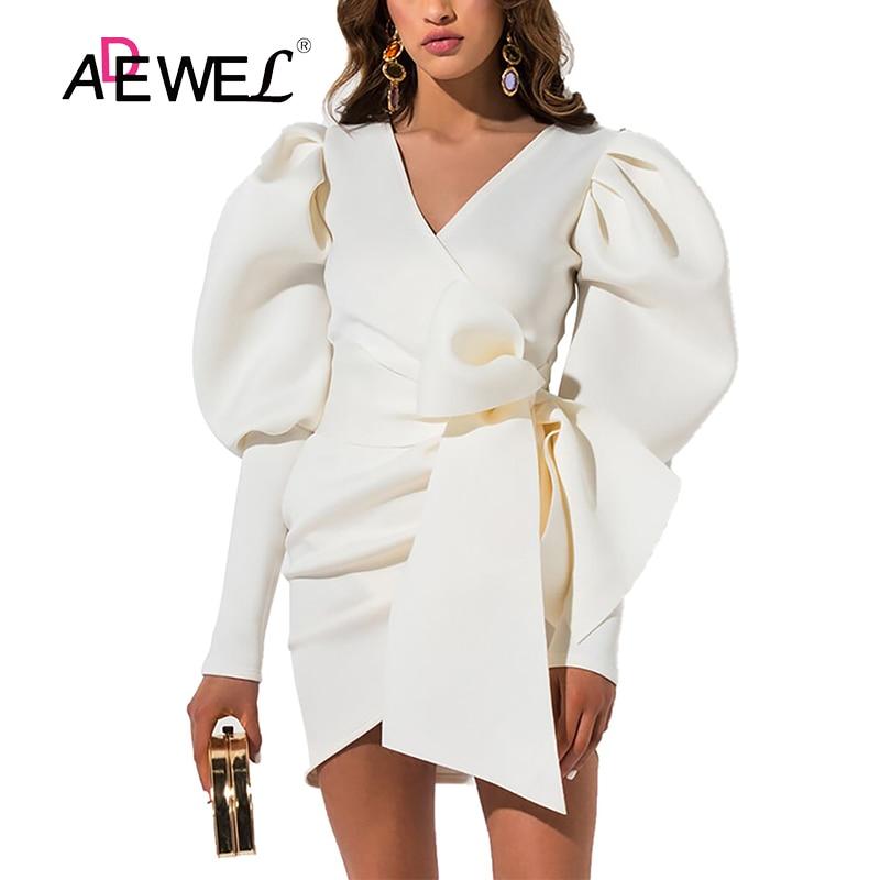 ADEWEL Women Plus Size White Dress Vestidos Invierno Mujer 2019 Hip Dresses Woman Party Night Robe Femme Bodycon Dress XXXL