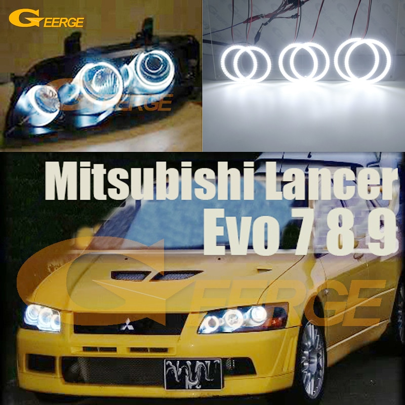 For Mitsubishi Lancer Evo 7 8 9 2002-2007 Ultra bright SMD LED Angel Eyes halo rings kit Day Light Car styling Accessories