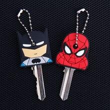Dessin animé Anime porte-clés mignon Batman Spiderman clé couverture casquette femmes cadeau fer homme capitaine amérique nouveau exotique porte-clés