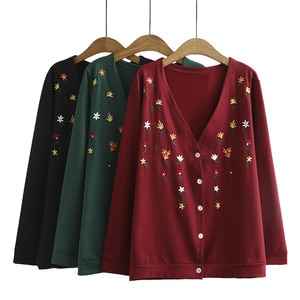 Женский трикотажный кардиган Supermiss, Повседневная Свободная блузка-туника с вышивкой и длинным рукавом размера плюс на осень и весну 2020
