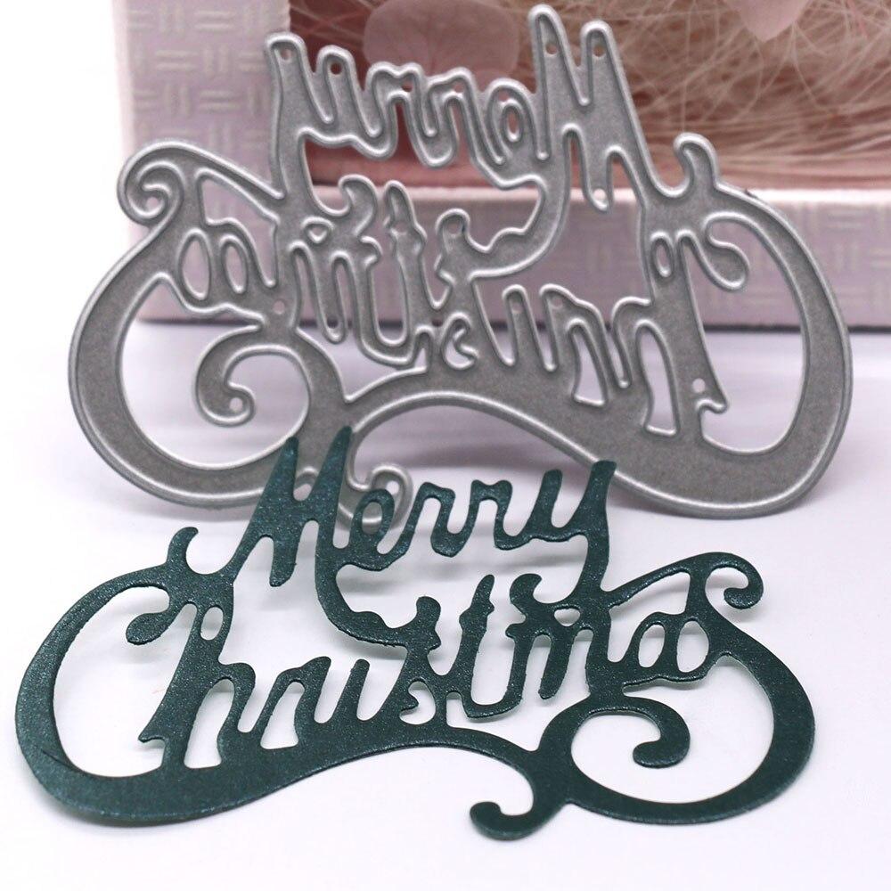 Feliz Navidad-troqueles de corte de Metal con palabras, álbum de recortes, Navidad,...
