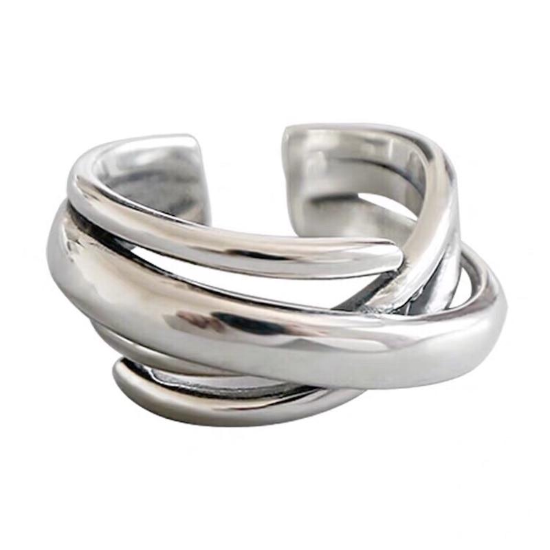 Bijoux Fashion Real Silver Color  Irregular Chains Rings for Women Boho Adjustable Antique Rings Anillos joyas de plata