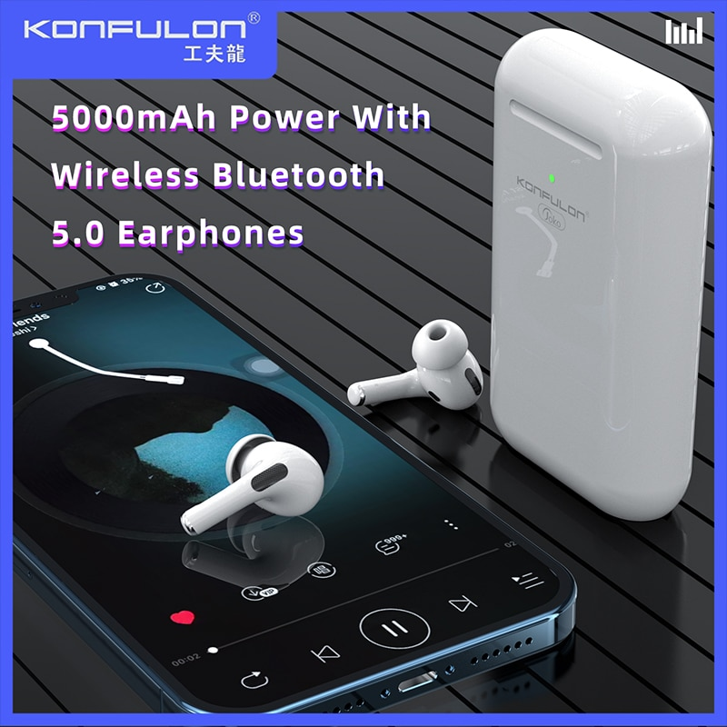 Newest Power Bank +TWS Earbuds 2 In1 V5.0 Bluetooth Earphones 5000 MAh Slim Powerbank With Wireless