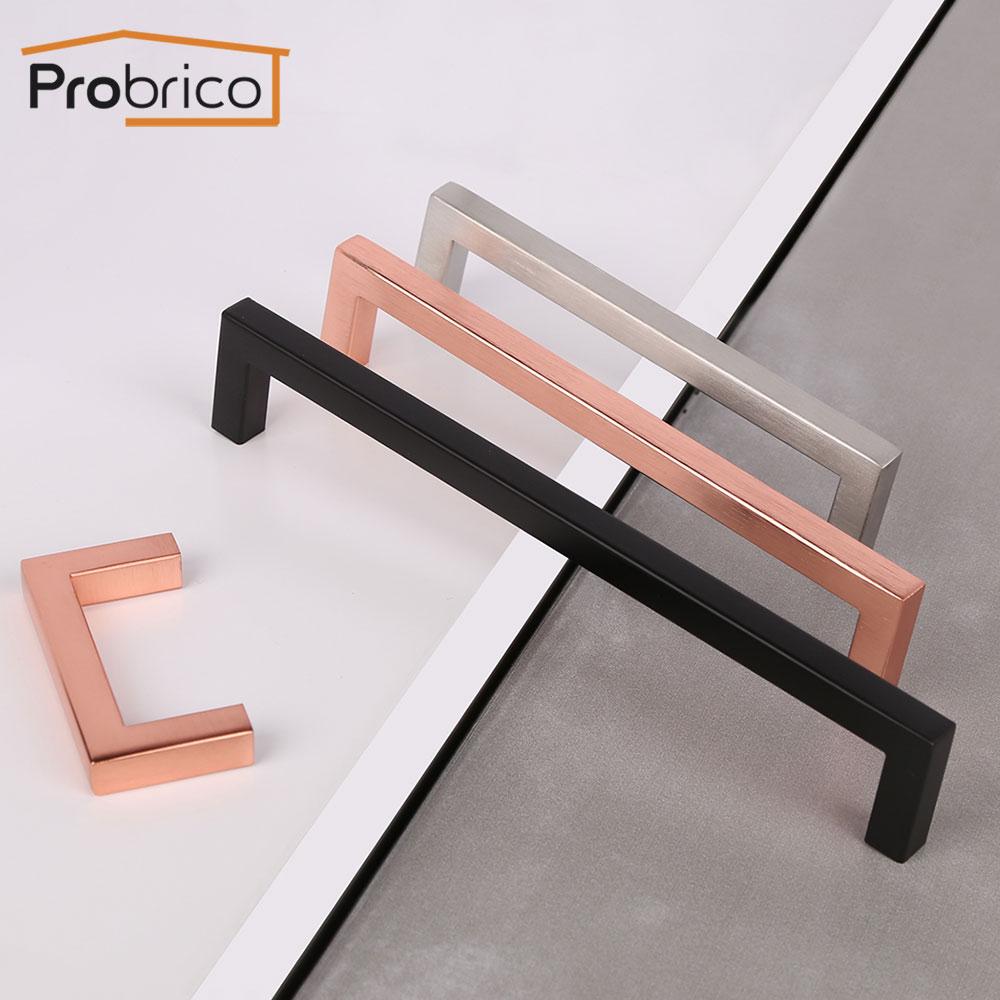 Probrico preto fosco armário puxadores e alças de ouro rosa armário gaveta armário puxa minimalista puxador de móveis