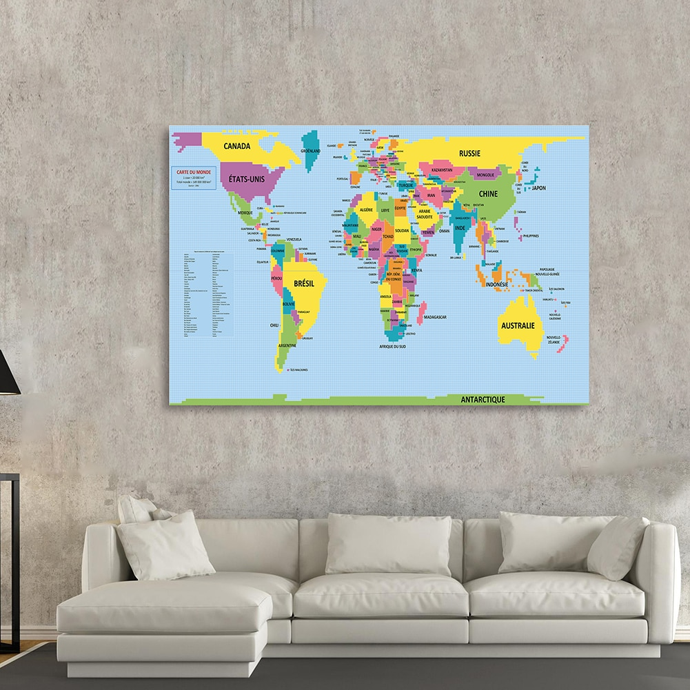 150*100 cm The World Political Map In French Large Poster Non-woven Canvas Painting Living Room Home Decor School Supplies