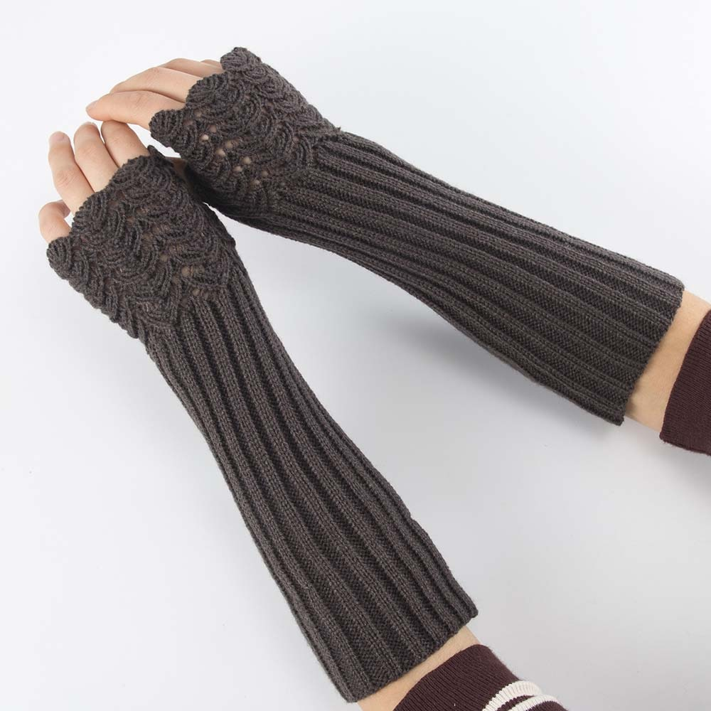 Elegant Women Fingerless Long Gloves Thumbhole Knit Arm Warmer Sleeve Elbow Length Soft Solid Color Mitten Winter 1 Pair Women S Gloves Aliexpress