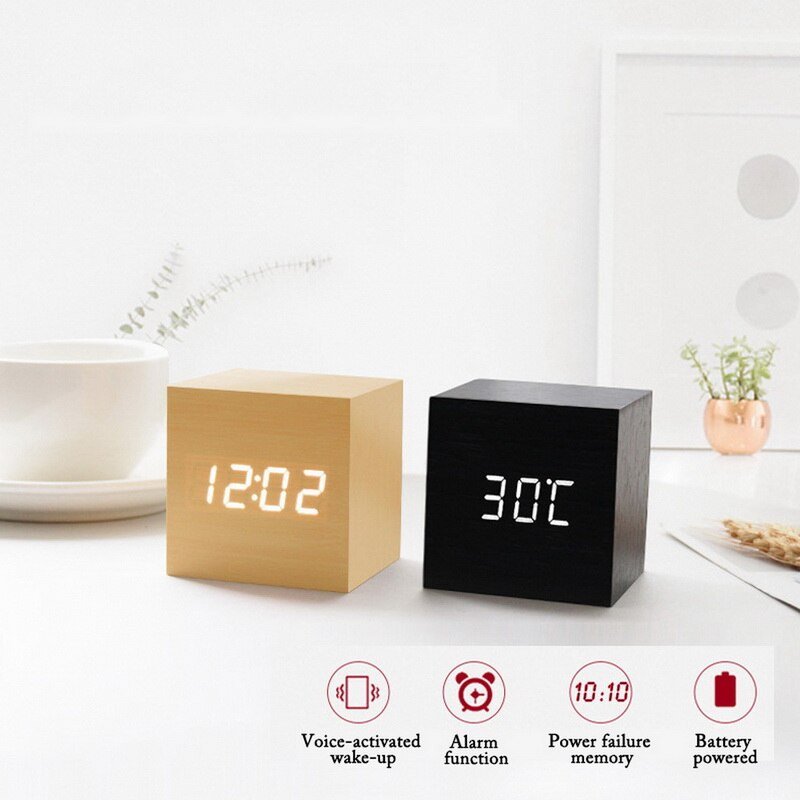USB/AAA Clocks LED Wooden Alarm Clock Watch Table Voice Control Digital Wood Despertador Electronic