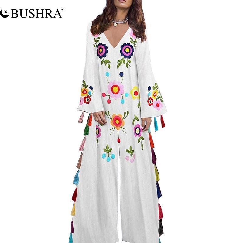 BUSHRA Muslim Long Skirt Women's New Color Fringed Split Long Skirt Muslim Printed Dress Turkey Clothing Dress for Women Dubai cross border women s clothing vintage printed palace style large swing dress dubai long dress clothes for muslim women
