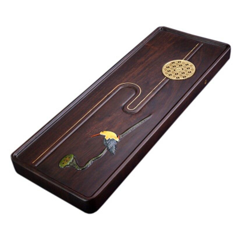 صينية الشاي مرسومة باليد خشب الأبنوس لوحة كاملة خشب متين زهور وطيور مرصعة بالنحاس إبداعي المنزل طاولة الشاي البحري