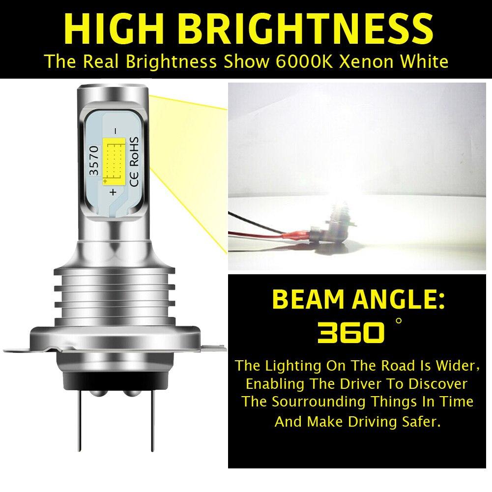 2pcs H7 LED Headlight Bulb Beam Kit 12V 80W High Power LED Car Light Headlamp 6000K Auto Headlight Bulbs 10000LM Waterproof honsco h7 24w 1800lm 5000k white light led high power car headlight kit dc12 18v 2 pcs