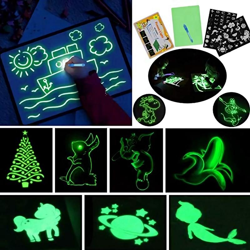 Magic Luminous Drawing Board Kids Toy Tablet Draw In Dark Magic Light-Fun Fluorescent Pen Children Educational Toy For Children