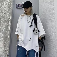 summer ripped hole men tshirts personality asymmetrical fashion hip hop student short sleeve clothing woman oversized streetwear
