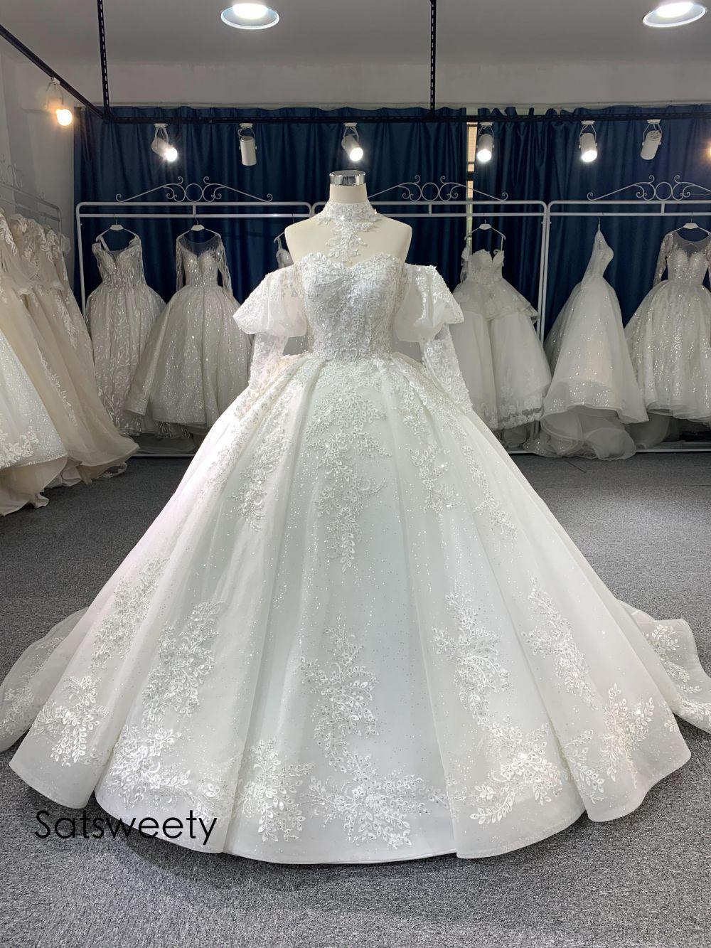 فستان أميرة فاخر مطرز بالخرز 2021 ، فستان زفاف مع زينة من الدانتيل ، وهم ، مخصص