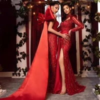 chic red beaded mermaid evening dresses with big bow back shiny crystal long evening gowns new year party prom party gowns