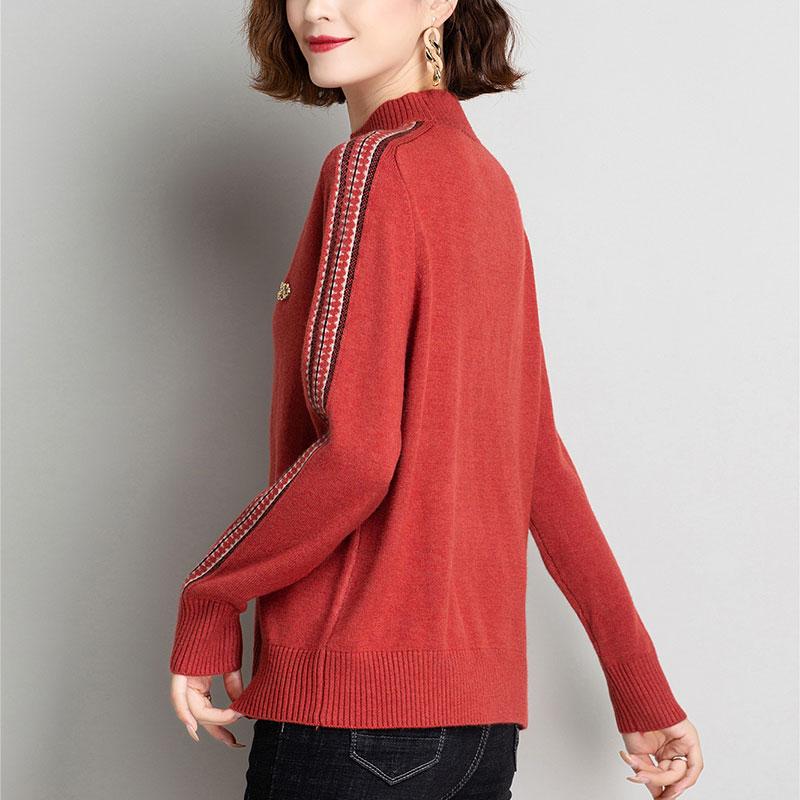 red woman sweaters  female 2020 flower Black turtleneck oversize Christmas jersey korean warm pullover white skin femme hiver enlarge