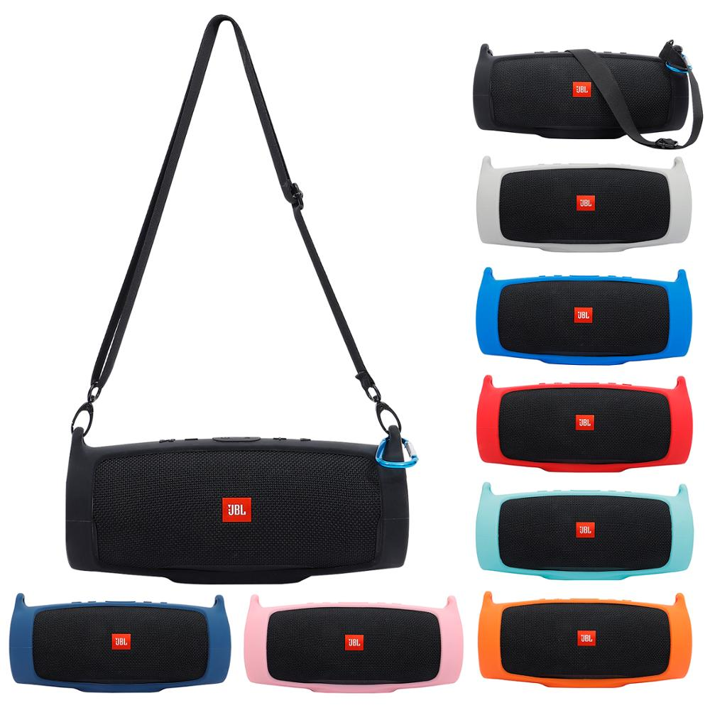 New Silicone Case Cover Skin With Strap Carabiner for JBL Charge 4 Portable Wireless Bluetooth Speaker