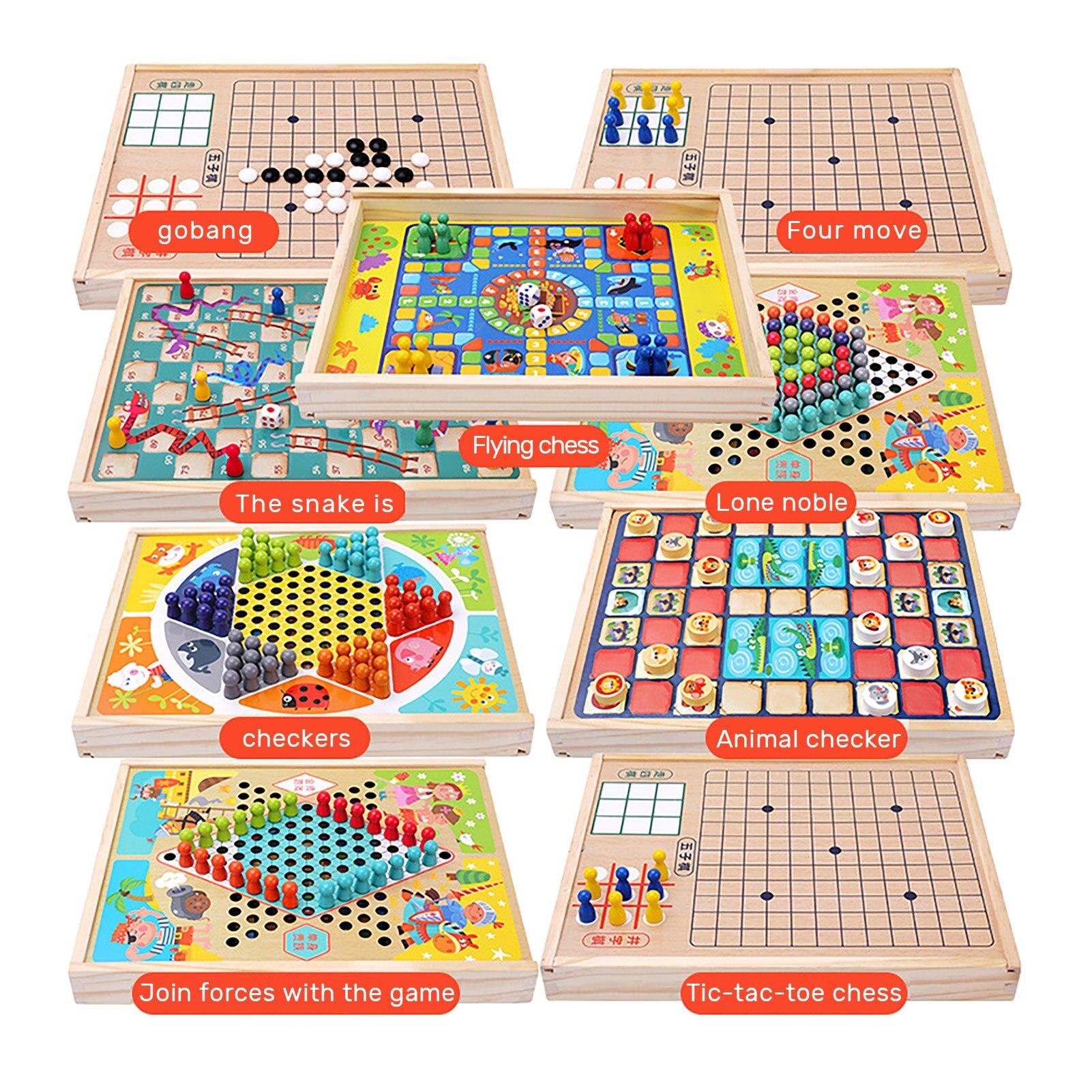 Настольная игра, шахматы 9 в 1, портативные деревянные летающие шашки, катапульта, змеи и лестницы, игра-пазл, настольная игра, набор игрушек